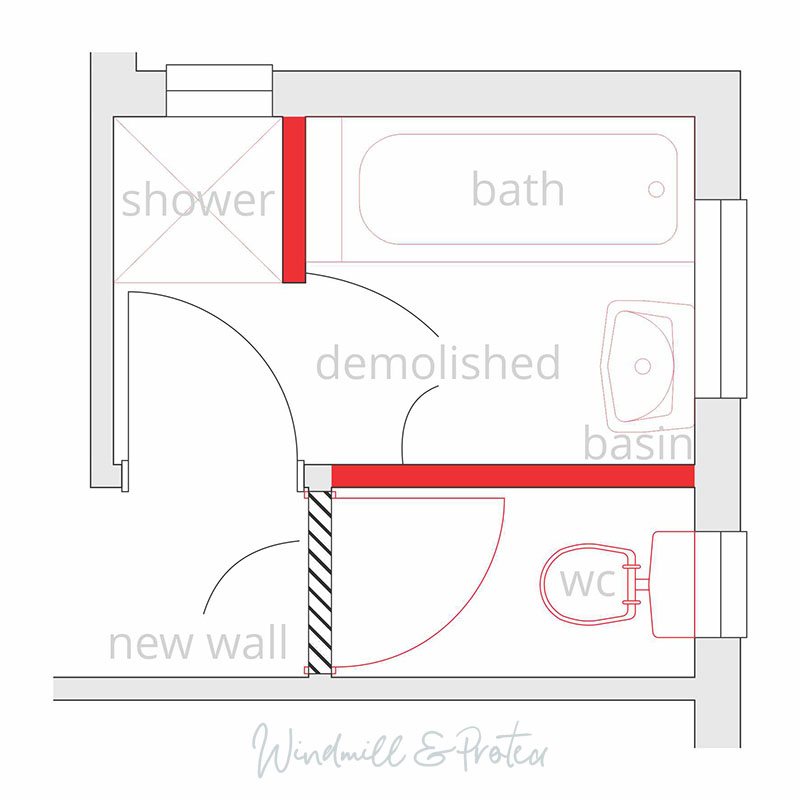 Bathroom Remodel Progress - Demolition plan - 01 | www.windmillprotea.com