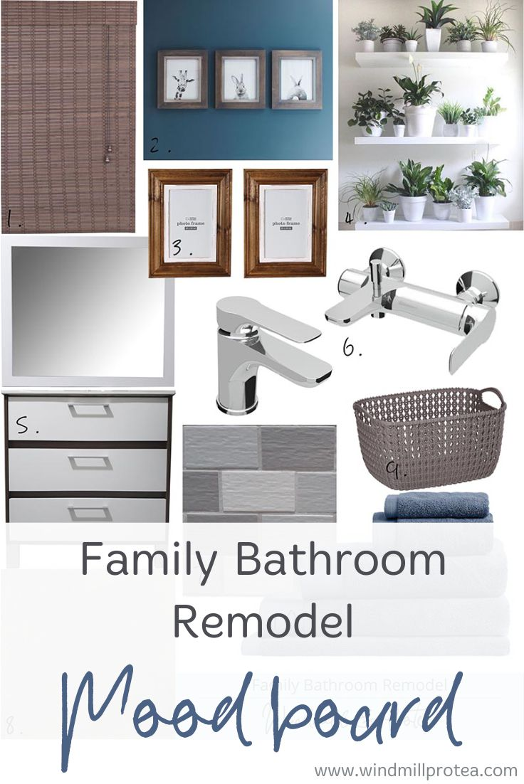 Before and Design plan for a family bathroom.