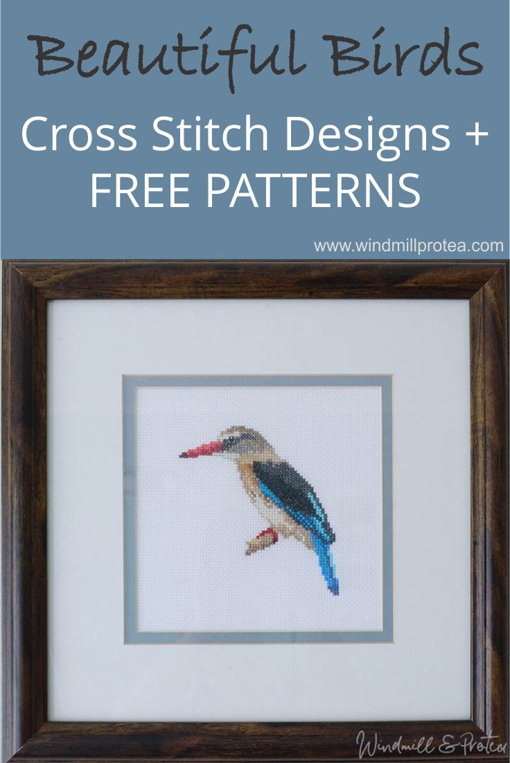 Cross Stitch, Brown-hooded Kingfisher and other designs, free patterns