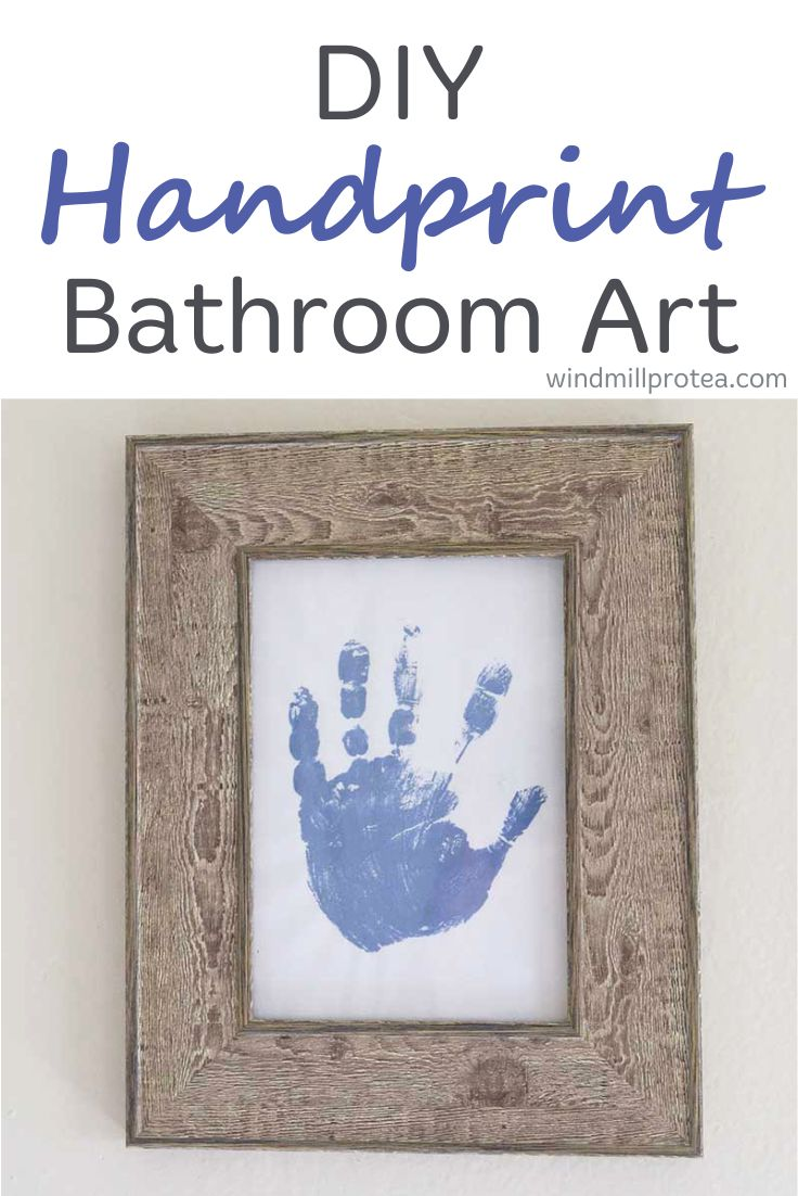 DIY Handprint art for family bathroom