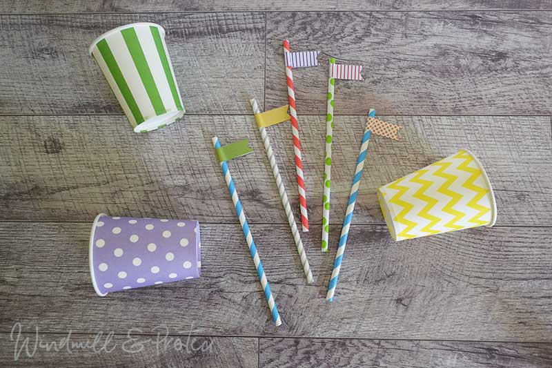 Rainbow and Balloons Birthday Party - Straw flags & cups | www.windmillprotea.com