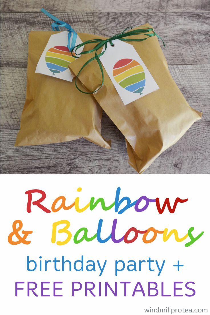 Colourful Kids Party! Free printables, ideas and inspiration for a Rainbow and Balloons themed birthday party.