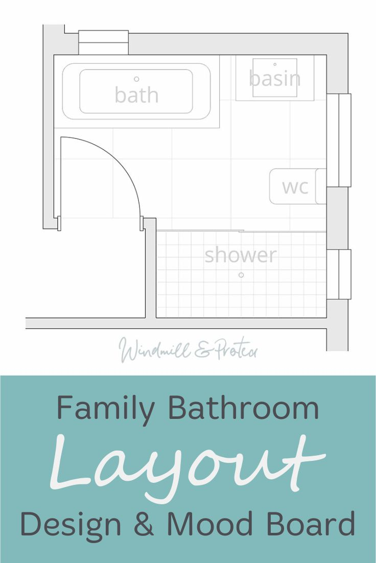 Before and new floor layout design for a family bathroom.