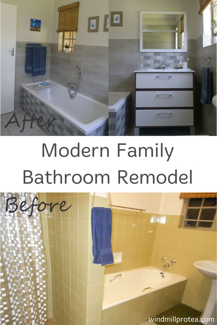 Modern Family Bathroom Remodel, before and after