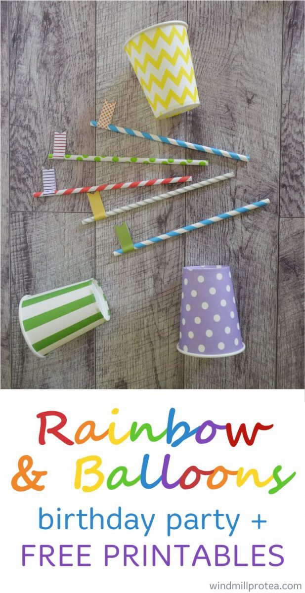 Free printables, ideas and inspiration for a Rainbow and Balloons themed birthday party.