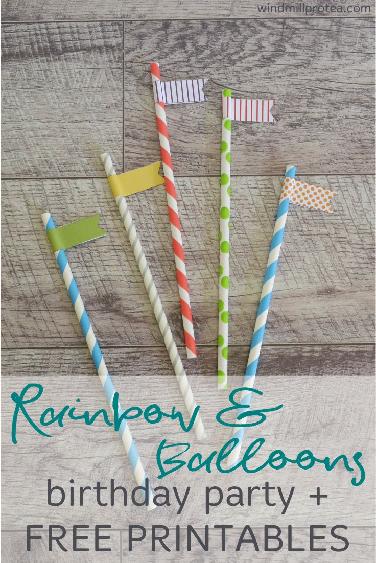 Rainbow and balloons birthday party with free printables. Ideas and inspiration.