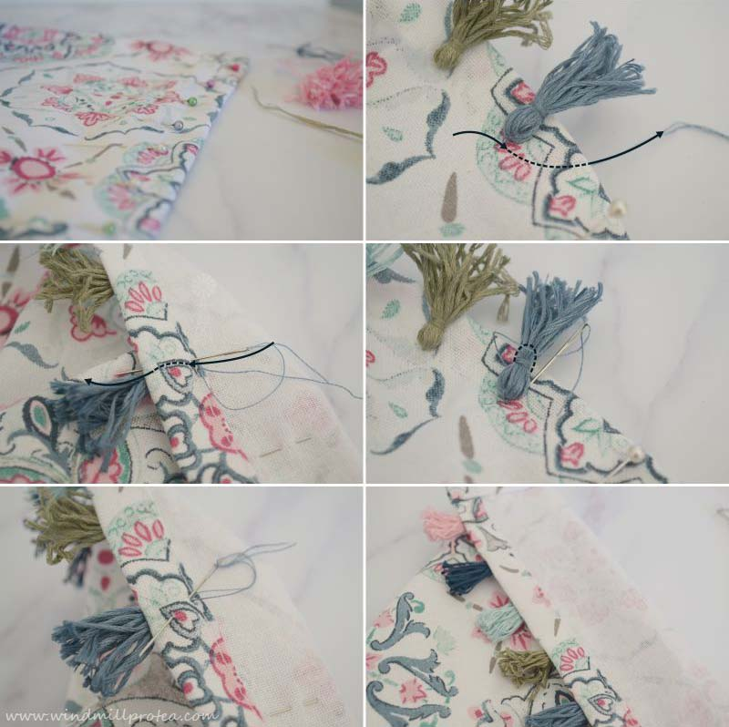 How to attach tassels to tea towel | www.windmillprotea.com