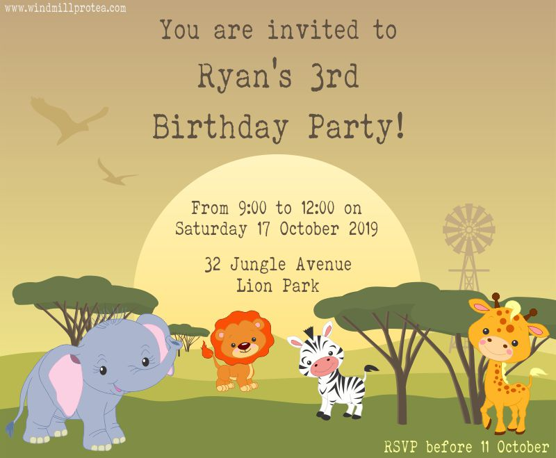 Wild Animals Party Invitations | www.windmillprotea.com