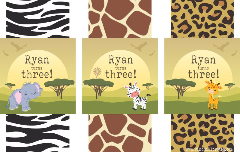 Wild Animals Party Pack Tags | www.windmillprotea.com