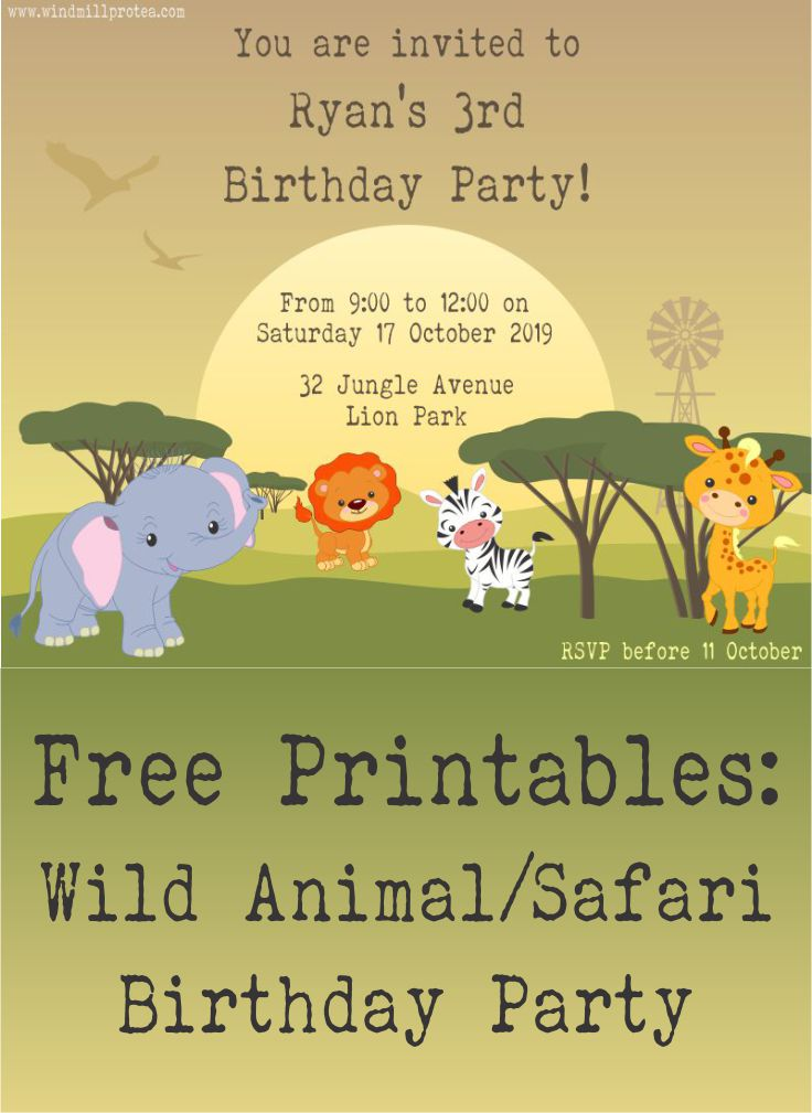 Free Printables: Wild Animal/African Safari Birthday Party