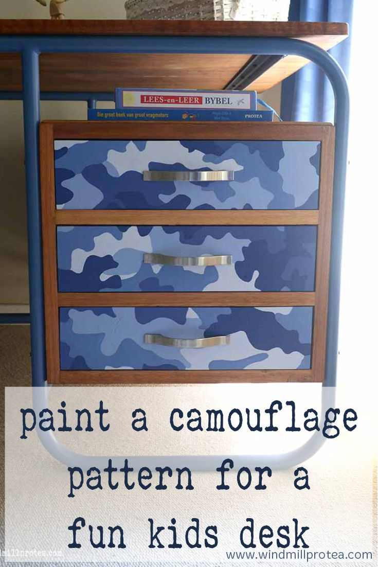 Pain a camouflage pattern for a fun kids desk