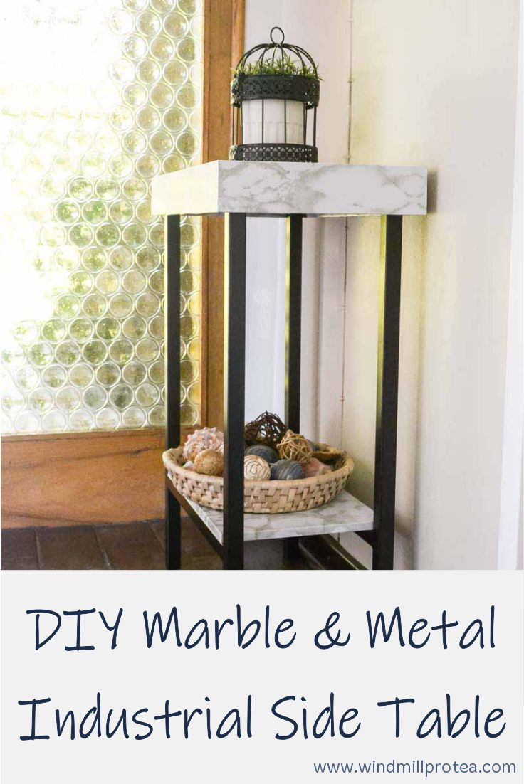 DIY Marble & Metal Industrial Side Table