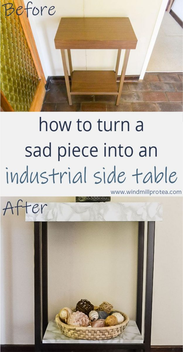 How to turn a sad piece into and Industrial Side Table