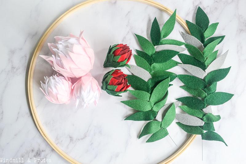 Ebroidery Hoop, Felt Proteas & Leaves | www.windmillprotea.com
