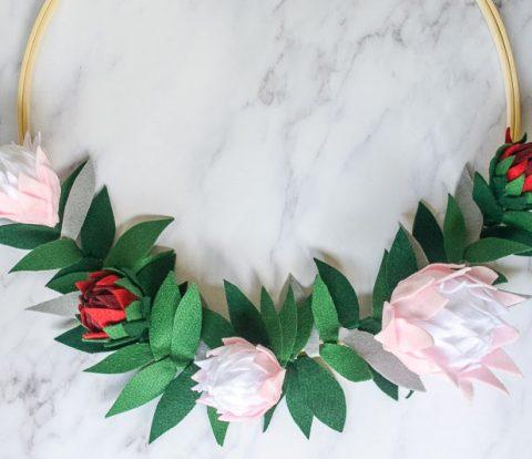 DIY Felt Protea Wreath | www.windmillprotea.com