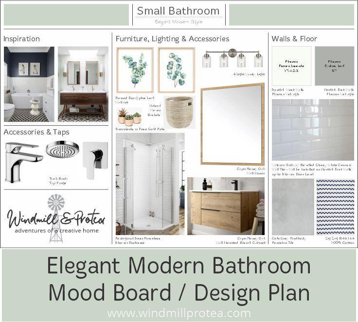 Elegant Modern Bathroom Mood Board / Design Plan
