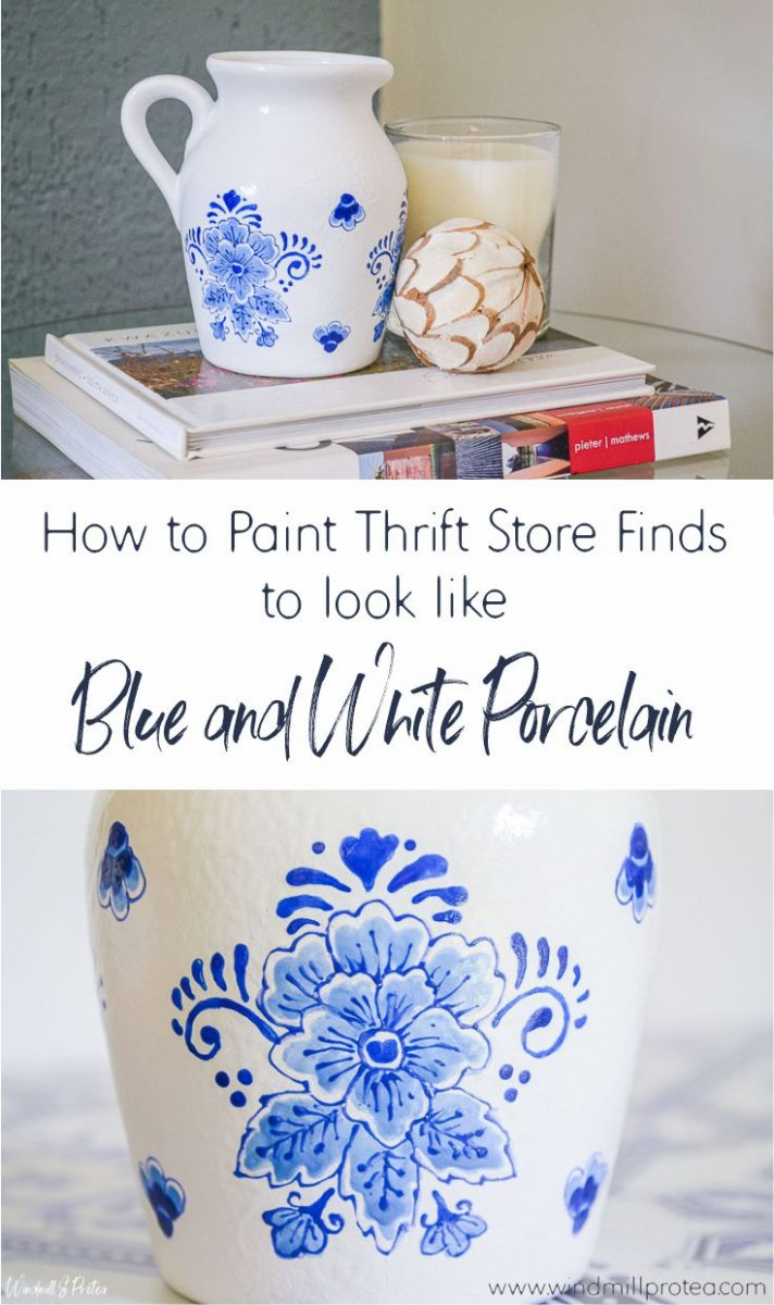 How to Paint Thrift Store Finds to Look Like Blue and White Porcelain