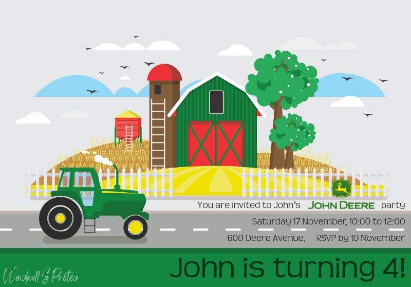 John Deere Birthday Party Invitation | www.windmillprotea.com