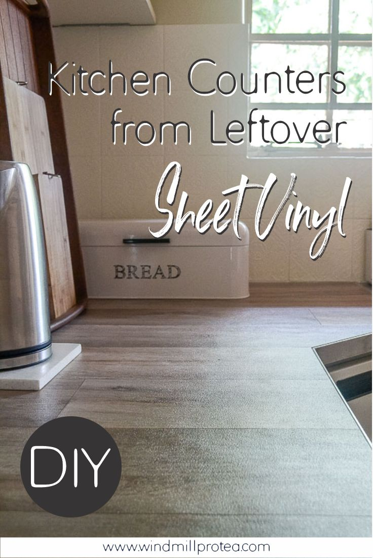 DIY Kitchen Counters from Leftover Sheet Vinyl | www.windmillprotea.com