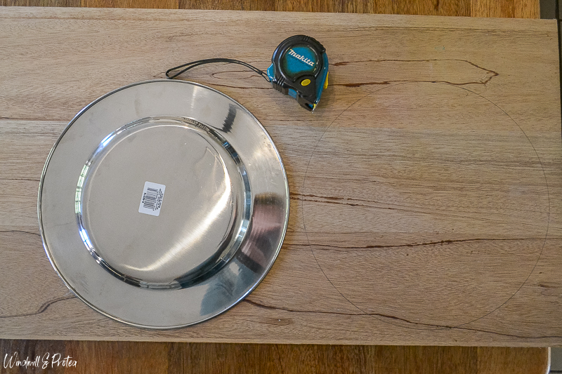 DIY Wood Kitchen Tray - Use plates or under-plates as templates to mark wood | www.windmillprotea.com