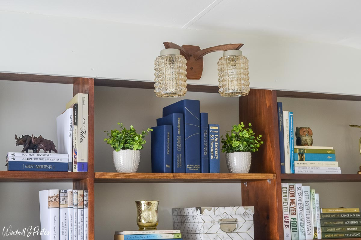 Home Office Wall sconce above bookshelf   www.windmillprotea.com
